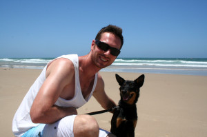 Rees and Jed the dog at Alexandra Headlands, Sunshine Coast