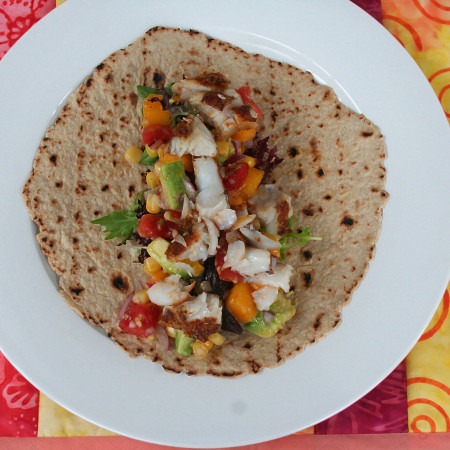 grilled barrimundi and saucy salsa wraps