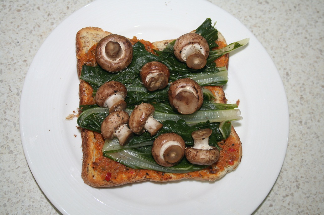 Spinach, mushroom and bruschetta toast