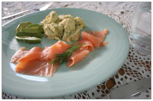 Salmon, avocado and scrambled eggs with dill