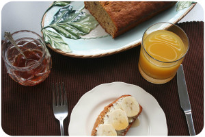 banana bread with honey and orange juice