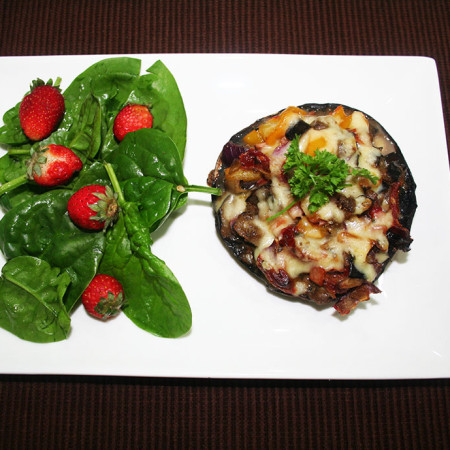 stuffed mushrooms and salad