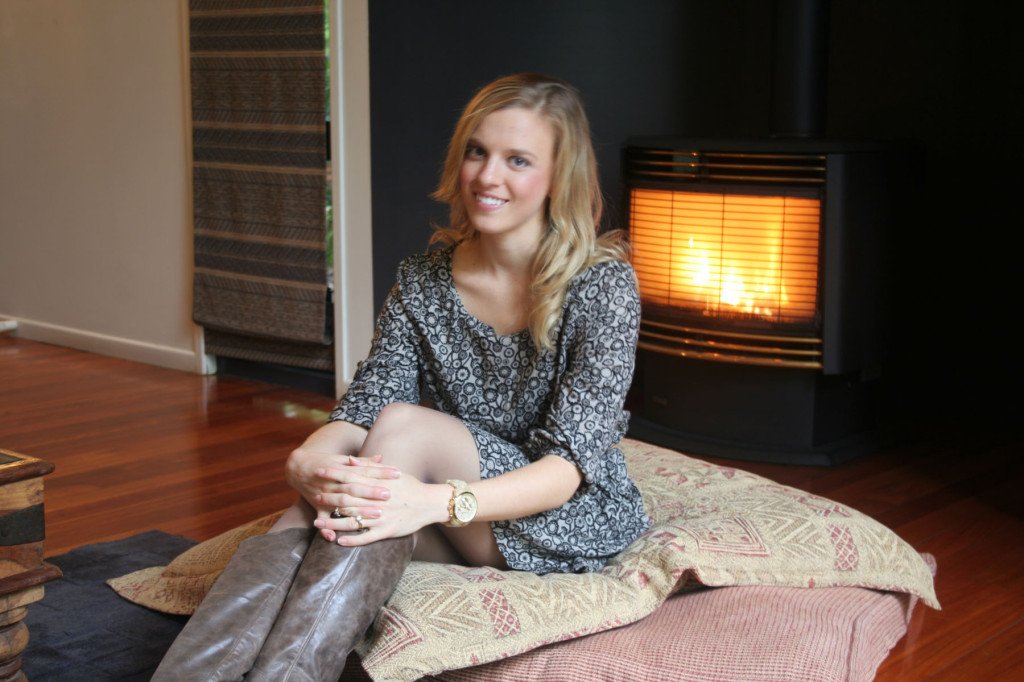 amy in front of fire
