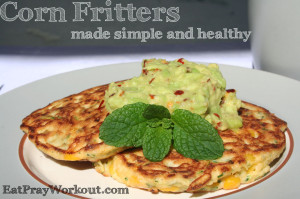 healthy corn fritters and chilli guacamole