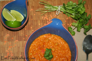 spiced red lentil coconut soup