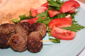 lamb kofta with parsley and mint salad