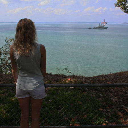 Eat Pray Workout Australia top health blogger Amy Darcy overlooking Darwin harbour