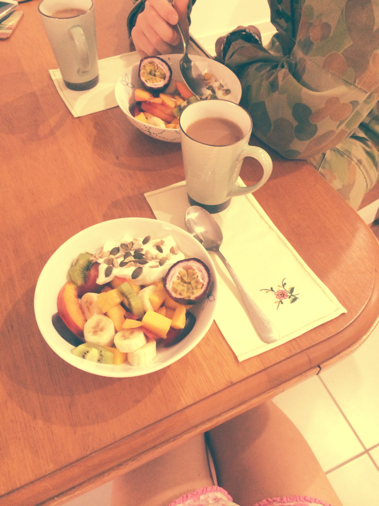 A breakfast at home fruit salad and tea army wife