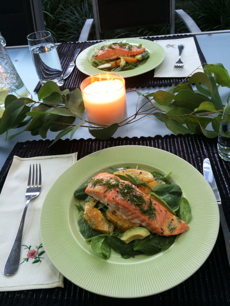 Salmon with orange and avocado salad eat pray workout