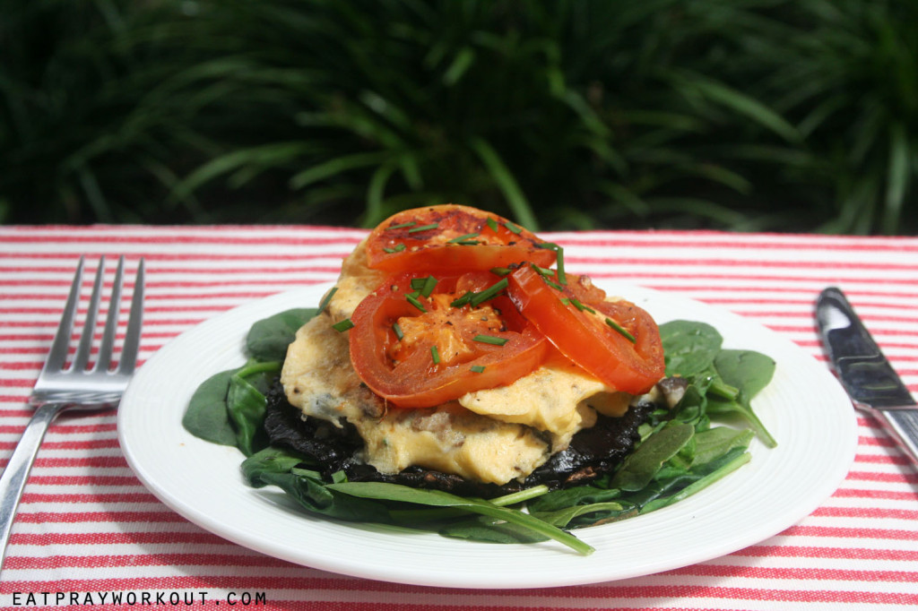 Mushroom Scrambled Egg and Tomato Stack eat pray workout