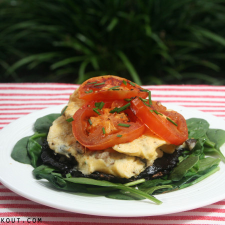 mushroom, scrambled egg and tomato stack