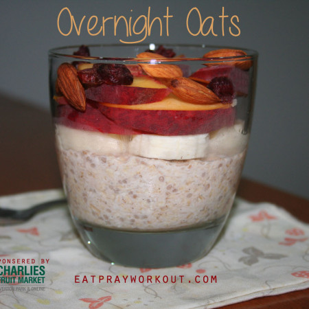overnight oats with almonds, banana and peaches
