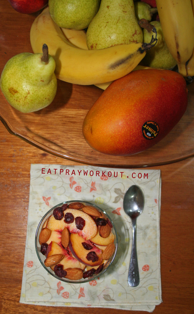 Overnight Oats with Almonds, Banana and Peaches eat pray workout