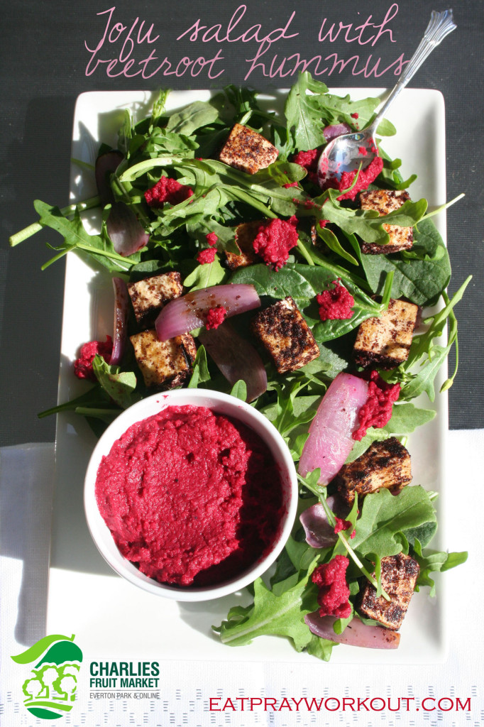 tofu salad with beetroot hommus copy