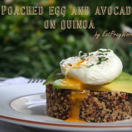 poached egg and avocado on quinoa