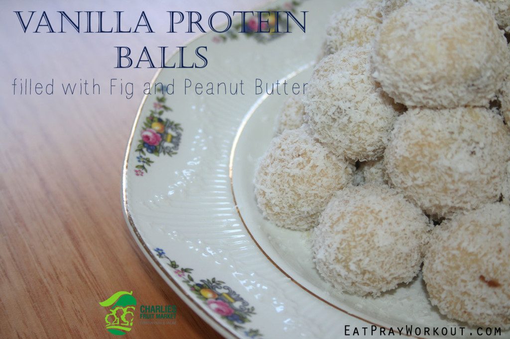 Vanilla Protein Balls with Dried Fig and Peanut Butter eat pray workout