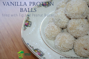 vanilla protein balls filled with dried fig and peanut butter