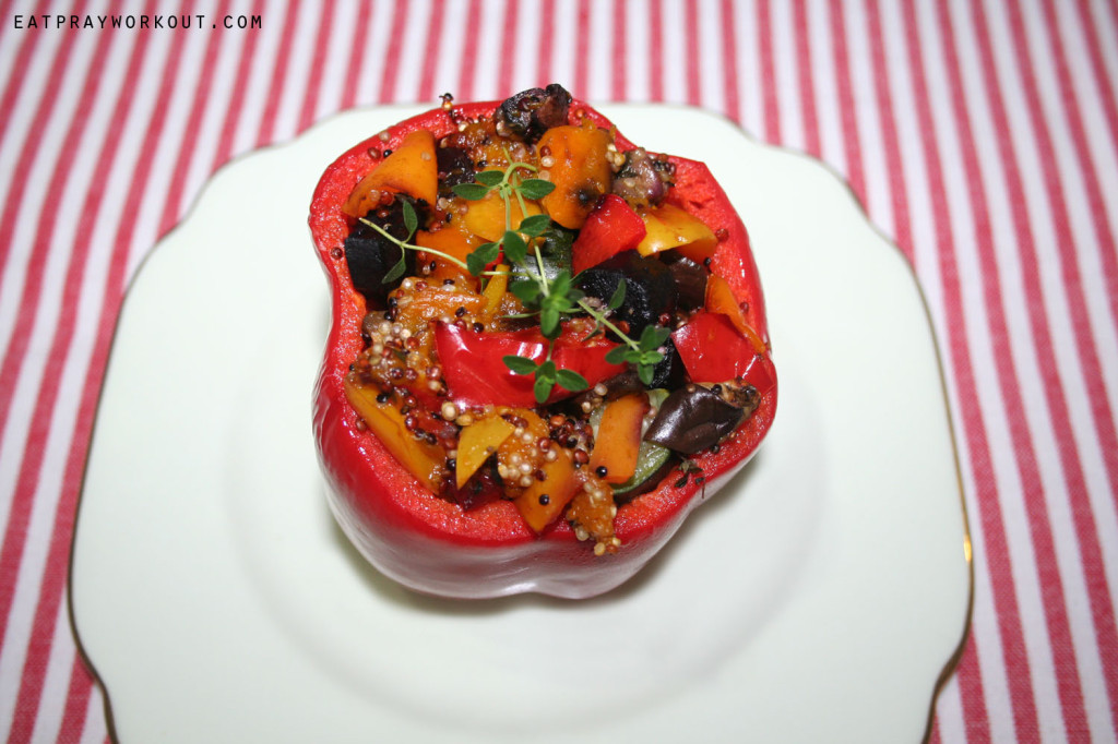 Stuffed capsicum with baked veges and quinoa eat pray workout