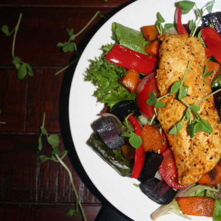 moroccan chicken and baked vegetable salad