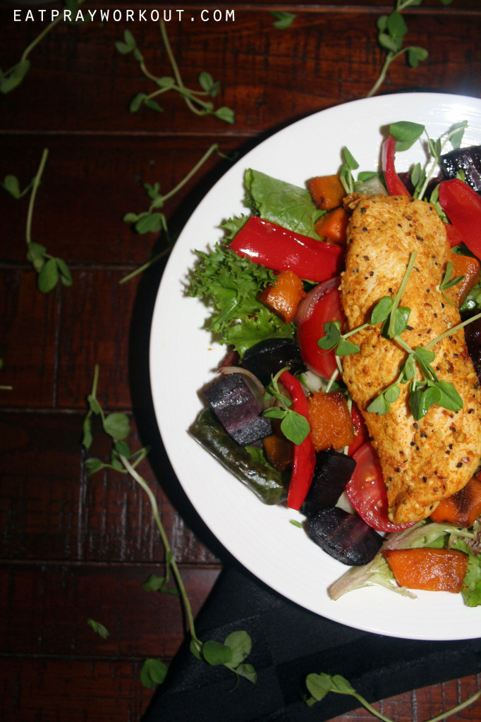 morrocan chicken and baked vege salad eat pray workout