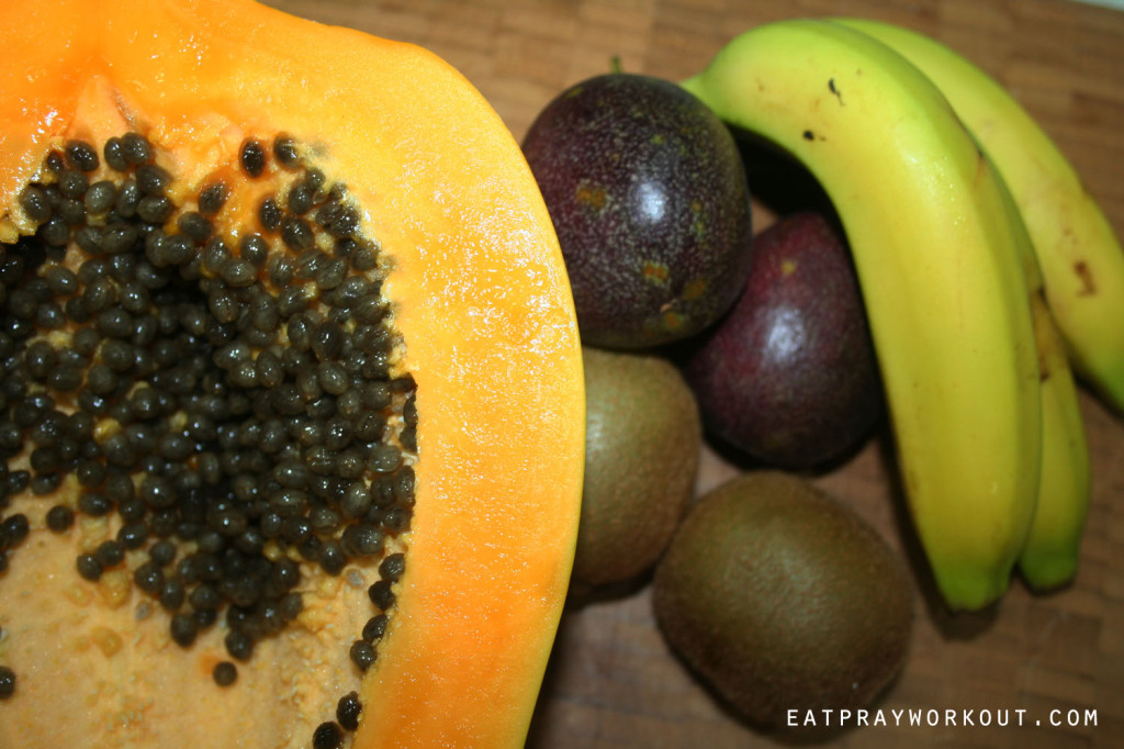 pawpaw breakfast passionfruit and banana eat pray workout