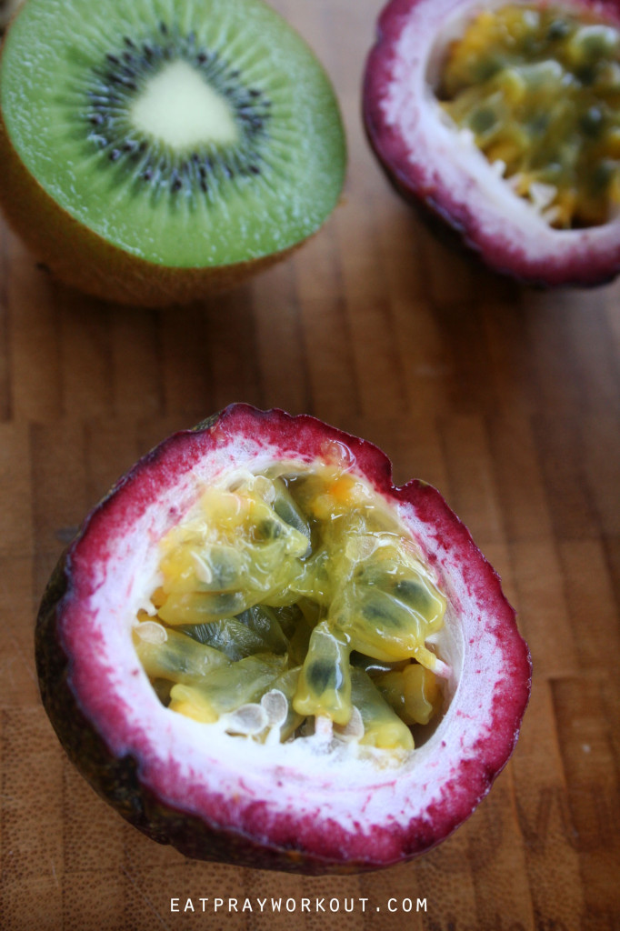 passionfruit and kiwi fruit eat pray workout tropical paw paw plate