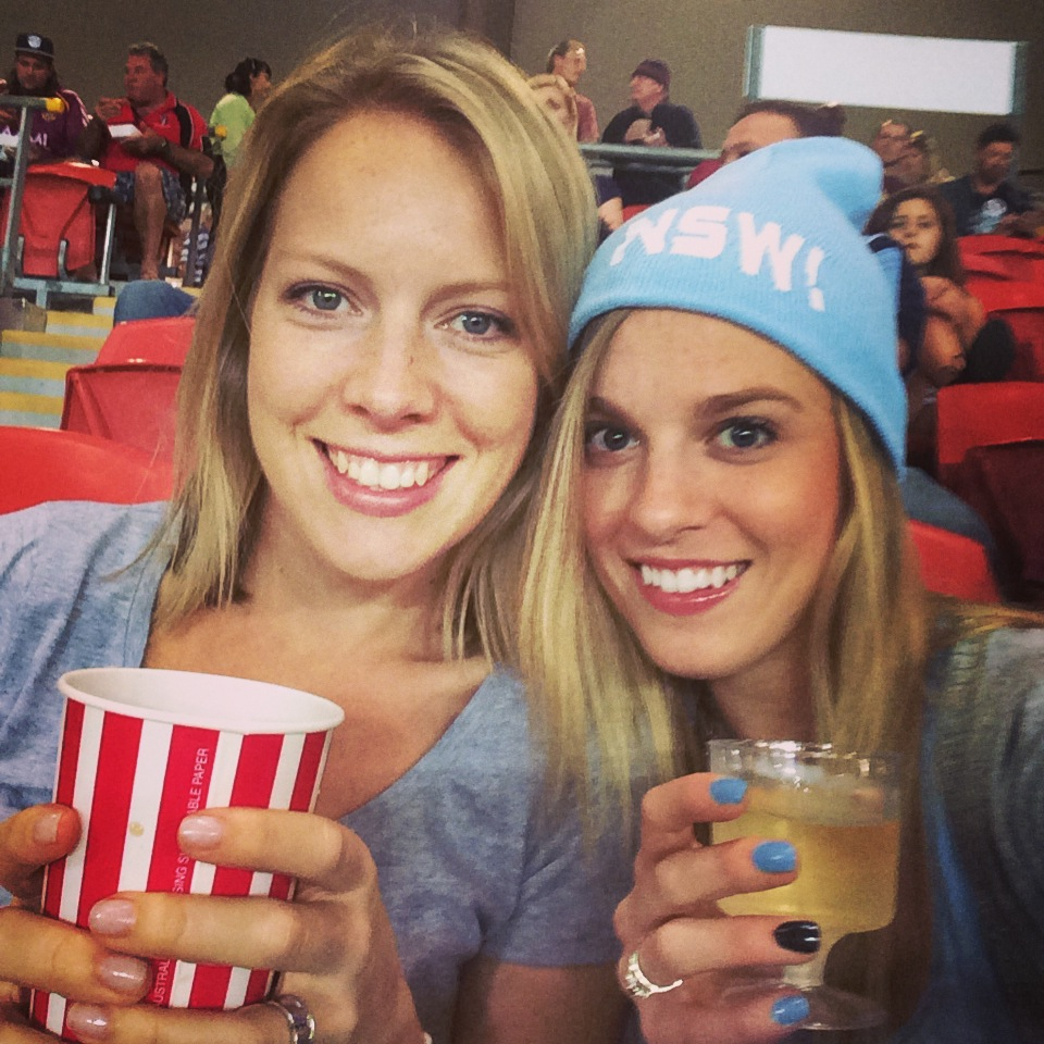 Jen and Amy NSW State of Origin Fans Eat pray workout goes to the NRL football