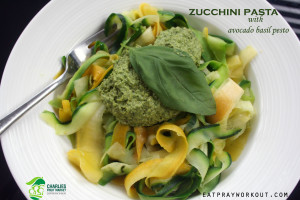 zucchini pasta ribbons and avocado basil pesto