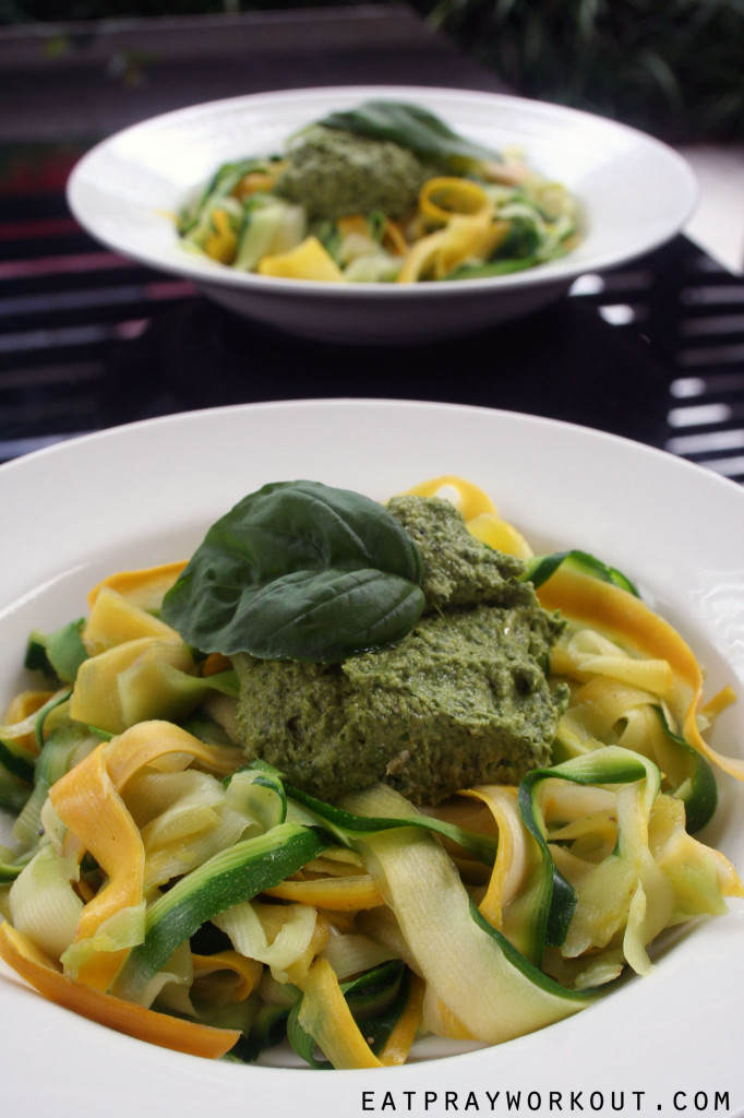 zuchinni pasta and avocado basil pesto eat pray workout