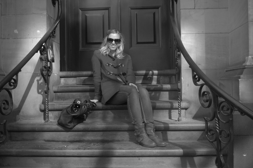 amy on stairs black and white eat pray workout