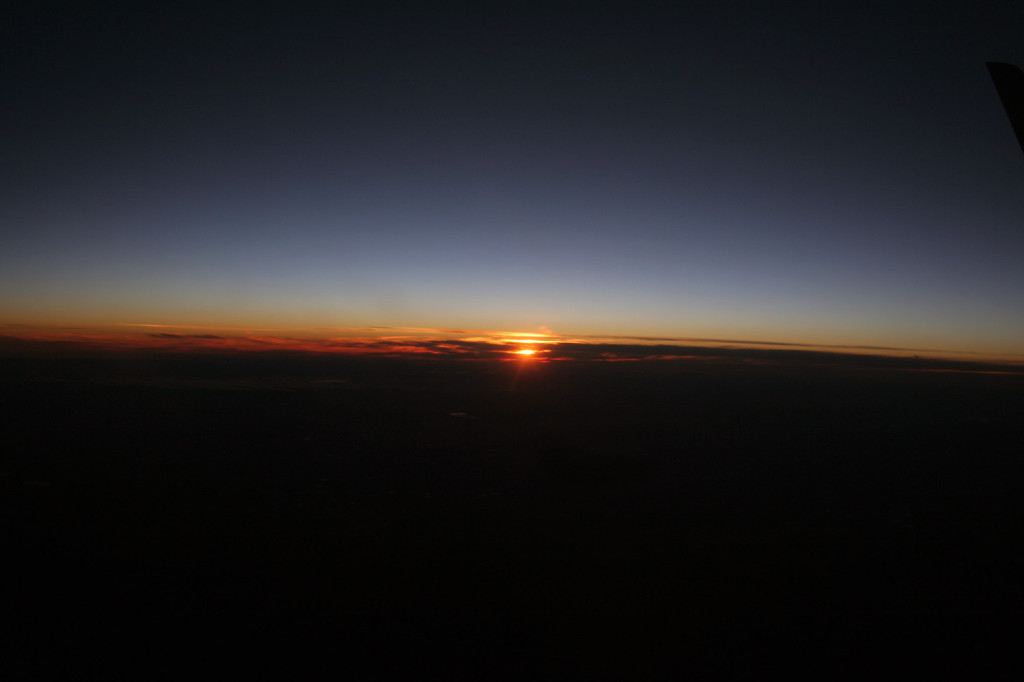 sunset from plane eat pray workout