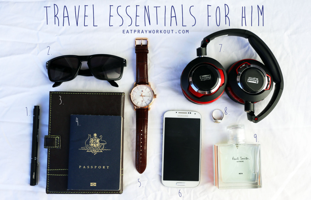 in flight travel essentials for him eat pray workout