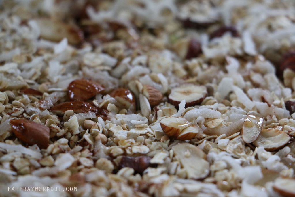 uncooked honey Healthy Granola recipe Eat Pray Workout Christmas copy