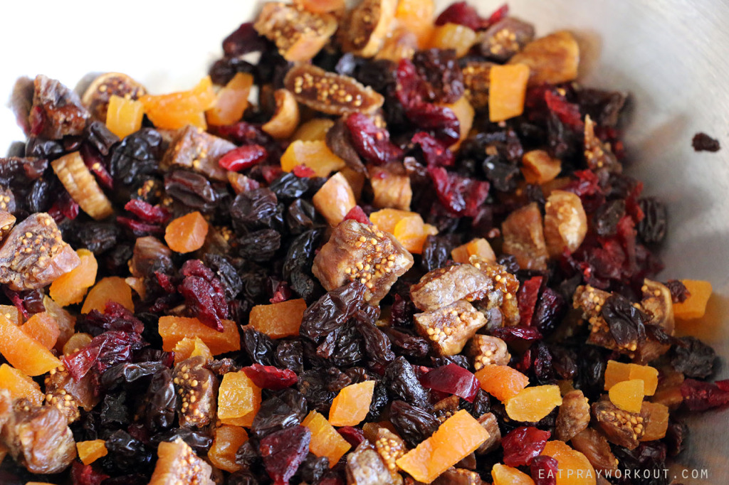 mixed dried fruit Healthy Granola recipe Eat Pray Workout Christmas