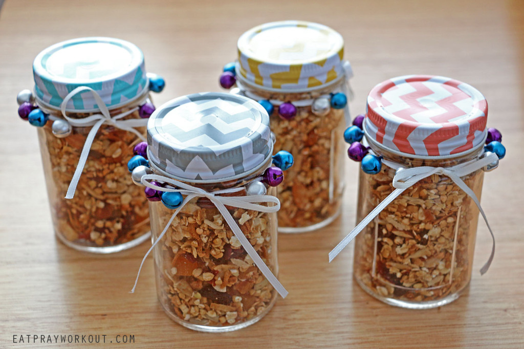 Healthy almond, hazelnut and fruit granola