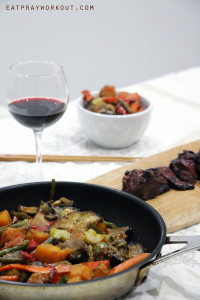 Grilled vino kangaroo steaks and vegetable stir fry