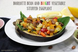 Borlotti Bean and Bright Vegetable Stuffed Eggplant + GIVEAWAY