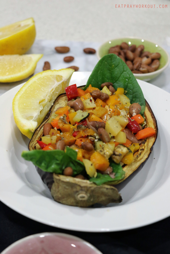 Borolotti Bean and Bright Vegetable stuffed eggplant Eat Pray Workout 4