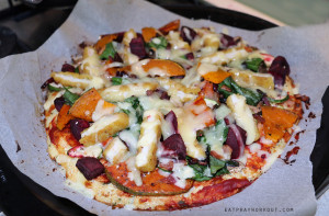 Chicken, Pumpkin and Beetroot on Cauliflower Pizza Base