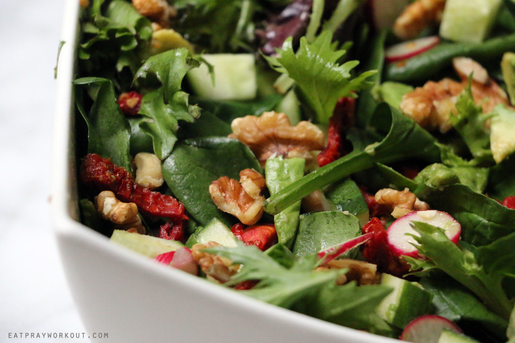Walnut, sundried tomato and radish salad eat pray workout