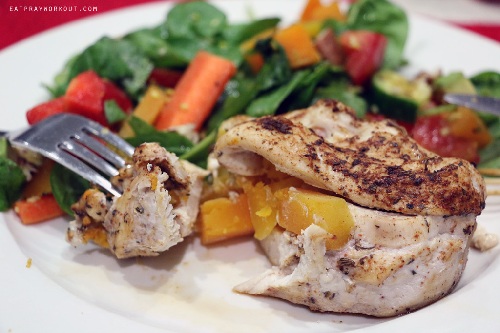 pumpkin stuffed chicken eat pray workout