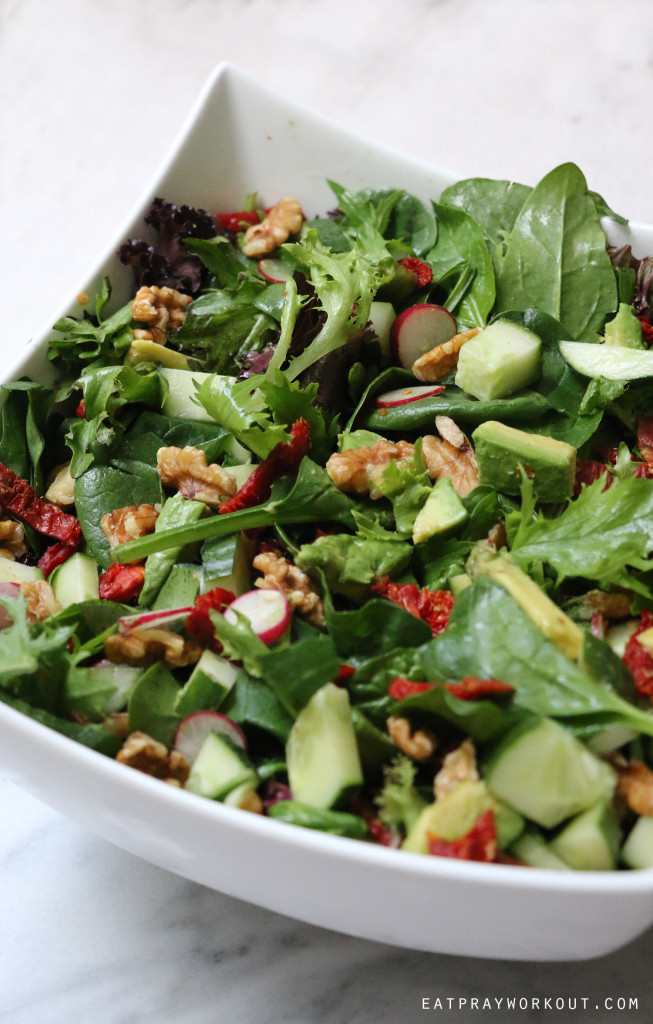 sundried tomato and radish salad eat pray workout 2