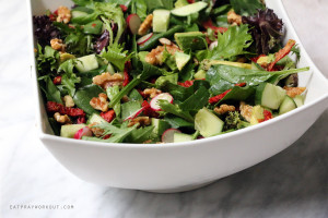 Walnut, Avocado and Sun-dried Tomato Salad with OMG Dressing + GIVEAWAY