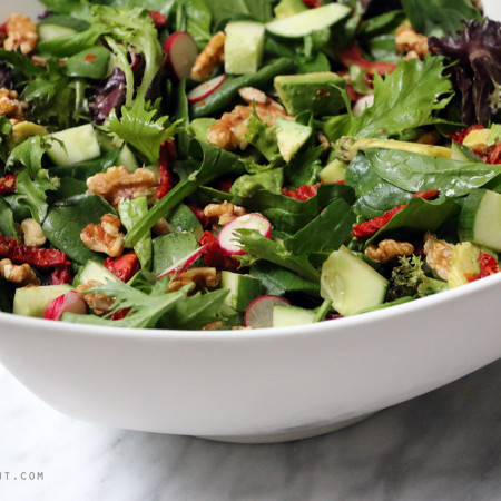 sundried tomato and radish salad with OMG dressing eat pray workout
