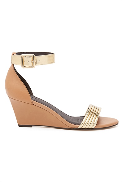 Tan and Gold Witchery Cosima Wedges Eat Pray Workout Mothers Day Gift