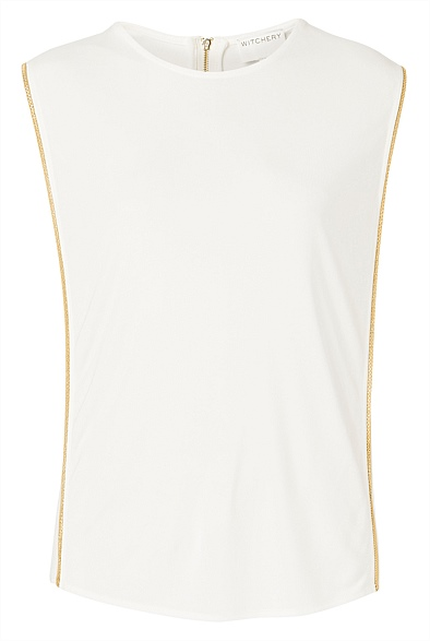 Witchery white top gold trim Eat Pray Workout Mothers Day Gift
