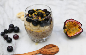 Almond & Vanilla Overnight Oats with Banana & Passionfruit