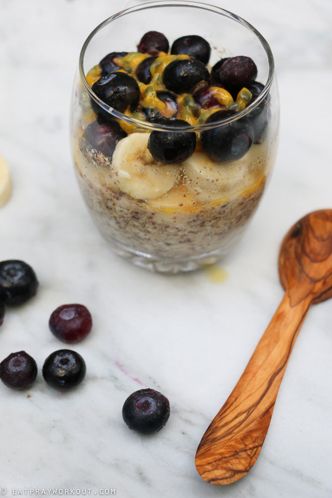 LSA Overnight Oats with Banana blueberry and passionfruit