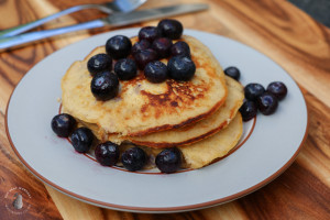 Coconut Flour Banana Pancakes and blueberries
