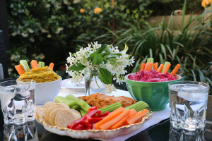 Flavoured hummus dip Trio with celery, carrot, capsicum and crackers
